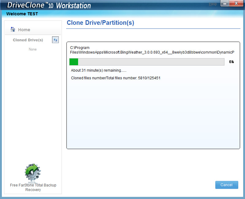DriveClone Workstation - Cloning