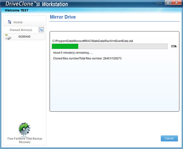 DriveClone Workstation - Incremental Backup